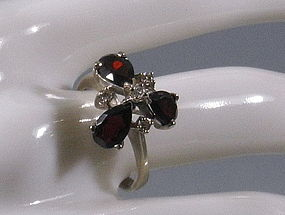 Vintage 14 K White Gold Garnet and Diamond Ring