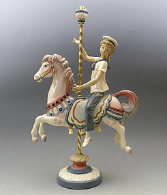 Lladro Porcelain Figurine Boy On Carrousel Horse