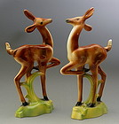 Pair Art Deco McCulloch Deer California Pottery Doe