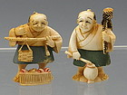 Pair of Ivory Japanese Netsuke Figurine Man