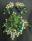 Vintage Green Rhinestone Brooch Pin and Clip Earrings