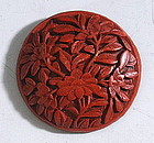 Large Antique Red Cinnabar Button