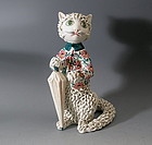 Tall Porcelain Spaghetti Cat with Umbrella Figurine