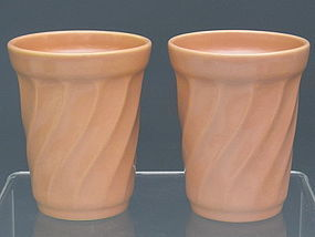California Pottery Metlox Peach Yorkshire Tumblers