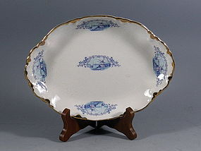 Antique Poxon Vernon California Blue White Dish Bowl