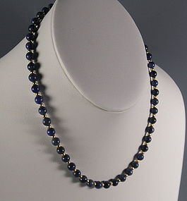 Natural Lapis Lazuli and Yellow Gold Bead Necklace