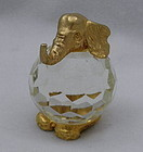 24 K Gold Crystal Ball Elephant by Menagerie Italy