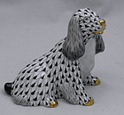 Black Fishnet Herend Porcelain Spaniel Dog Figurine