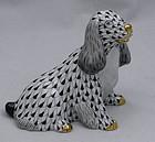 Black Fishnet Herend Porcelain Spaniel Dog Figurine