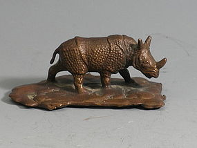 Small Tiffany Bronze Animal Rhinoceros Figurine