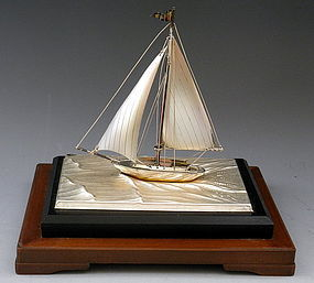 Sterling Silver Japanese Sailing Boat Yatch Sculpture