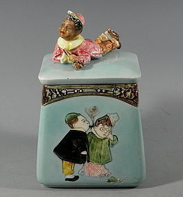 Black Boy Majolica Tobacco Jar Humidor, 19th C