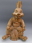 Vintage Carved Wood Rabbit Paper Mache Mold