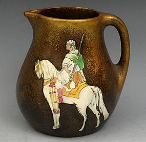 Stellmacher Teplitz Austrian Pottery Arabian Noman Horse Pitcher