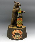 Vintage Grizzly Bear Beer Advertising Counter Top Bar Display w Bottle