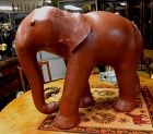 Large Mid Century Leather Elephant Footstool Ottoman Vintage