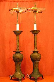 Pair of Oriental Style Metal Lamps