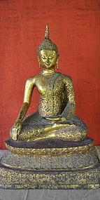 THAI SEATED BUDDHA WITH GILT BRONZE