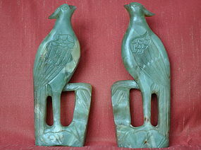Chinese Carved Nephrite Jade Birds
