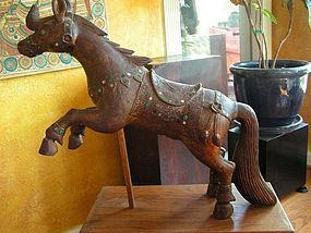 Burmese Wood Carved Horse