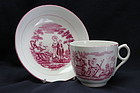 "Enoch Wood cup and saucer ""Faith Hope and Charity"""