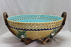 Minton pierced majolica two handled basket