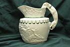 Pearlware hunt jug with greyhound handle possibly by John Hall & Sons