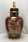 Crown Devon ruby lustre lidded temple jar