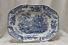 Blue and white rectangular dish att. to Thomas Dimmock
