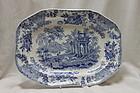 Blue and white rectangular dish att. to Thomas Dimmock