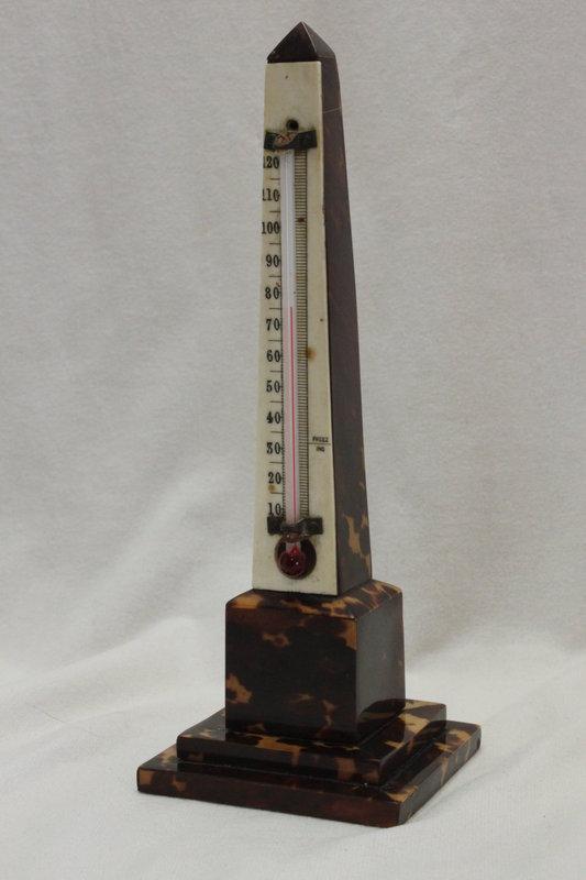 Tortoiseshell obelisk desk thermometer