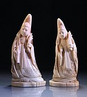 Pair of Chinese Carved Ivory Figures.