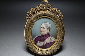 Antique Miniature Painting on Ivory, 19th C.