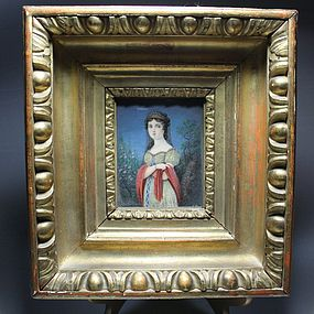 Antique Continental Portrait Miniature on Ivory 19th, C