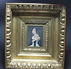 Antique Miniature Portrait on Ivory 19th, C.