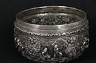 Wonderful Burmese Silver Bowl, 19th c.
