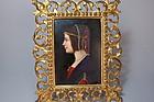 Antique German Porcelain Miniature Plaque of Beatrice d
