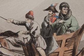 BUONAPARTE'S FLIGHT IN DISGUISE FROM RUSSIA, Dec 1812
