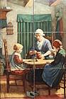 Antique Hand Painted Dutch Tile Picture After Artz