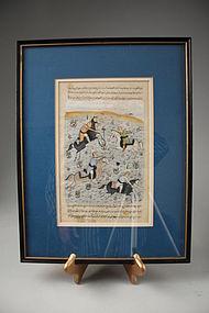 Persian Manuscript Page-Miniature Painting, 18th C.
