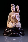 Chinese Carved Ivory Figure of a Beauty.