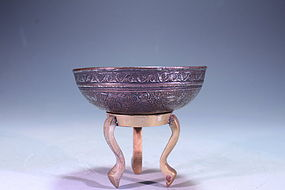 Antique Persian engraved Copper Bowl, 17th C.