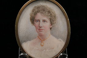 Anglo-American Portrait Miniature on Ivory, Ear 20th C.