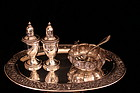 Antique Set of Repousse Sterling Silver Set, 19th c.