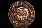 Delicate Chinese Enameled Silver Dish with a Pierced G,