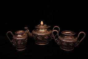 Antique Burmese Silver Tea/Coffee Set, Ear 20th C.