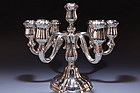 CONTINENTAL SILVER SEVEN LIGHT CANDELABRA, EAR 20TH C.