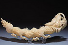 Chinese Carved Ivory  Figure of a Dragon, 19th C.