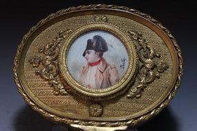 French Bronze Box & Miniature Ivory Portrait, 19th C.