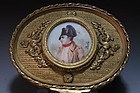 French Bronze Box & Miniature Ivory Portrait, 19th C.